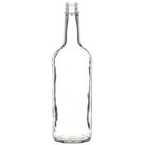 1 Liter Clear Glass Round Liquor Bottle - 28-3500 Neck Finish - Front View