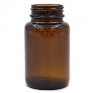 100 cc Amber Glass Round Packer Bottle - 38-400 Neck Finish - Front View
