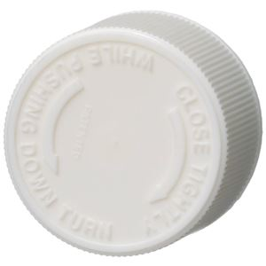 28-410 Push and Turn Child Resistant Lined White P/P Plastic Closure - Foam Liner - Top View