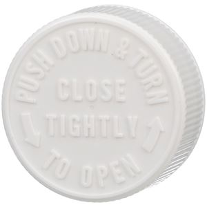 38-400 Push and Turn Child Resistant Lined White P/P Plastic Closure - Text Top - Top View