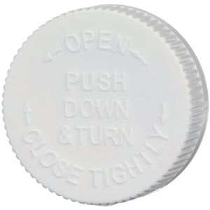 45-400 Push and Turn Child Resistant Lined White P/P Closure