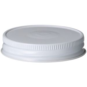 70-450 Continuous Thread Lined White/White Tinplate Closure - Button  - Front View