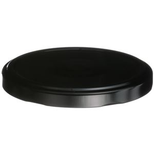 82 mm Lug Lined Black/White Metal Closure - Vacuum Button  - Front View