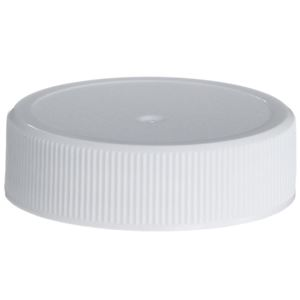38-400 Continuous Thread Lined White P/P Plastic Closure - FS5-9 Tri-Tab Liner - Front View
