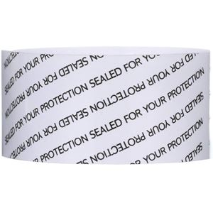77 mm x 25 mm Clear PVC Plastic Pre-Cut Shrink Band - SFYP Printed Black with No Perforation - Front View