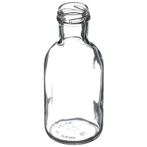 12 oz Clear Glass Round Long Neck Beverage Bottle - 38-2000 Lug Neck Finish - Angled View
