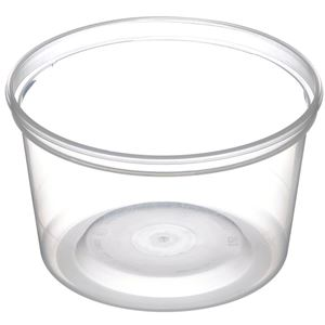 16 oz Clear P/P Plastic Round Tub with 410 Diameter - Angled View