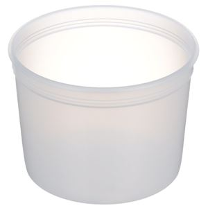 64 oz Natural HDPE Plastic Round Tub with 607 Diameter  - Angled View