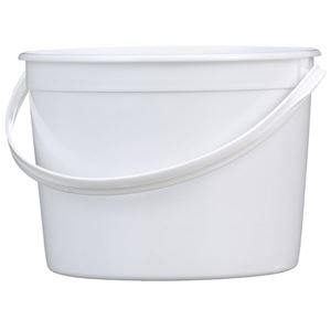 64 oz White HDPE Plastic Round Tub with Plastic Swing Handle with 607 Diameter - Front View