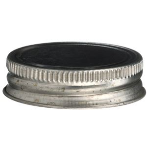 "1.75 Inch Continuous Thread Lined Silver Metal ""Delta"" Can Closure - Front View"