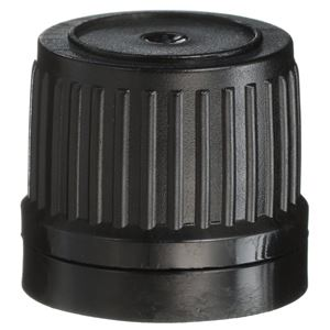 18 mm Tamper Evident Black HDPE Plastic Closure - For Euro Dropper Package - Front View