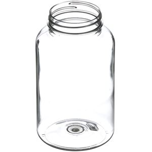 500 cc Clear PET Plastic Packer Round - 53-400 Neck Finish - Angled View
