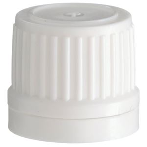 18 mm Tamper Evident White P/P Plastic Closure - Breakaway Band - Front View