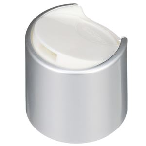 28-410 Brushed Aluminum/White P/P Smooth Skirt Press Top Dispensing Closure  - Top View