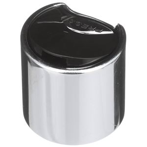 28-410 Silver Chrome/Black P/P Smooth Skirt Press Top Dispensing Closure - Top Front View