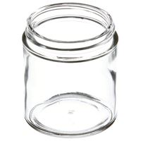 4 oz Clear Glass Round Wide Mouth Jar - 58-400 Neck Finish - Angled View