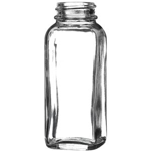 4 oz Clear Glass French Square Bottle - 33-400 Neck Finish - Front View