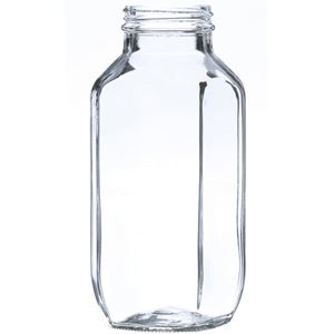 16 oz Clear Glass French Square Bottle - 48-400 Neck Finish - Front View