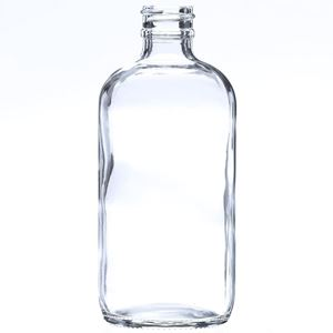 8 oz Clear Glass Boston Round Bottle - 24-400 Neck Finish - Front View