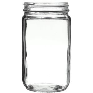 32 oz Clear Glass Round Straight Sided Jar - 89-400 Neck Finish - Front View