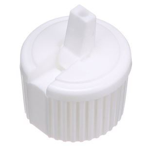 24-410 Flip Top Dispensing Unlined White LLDPE Plastic Closure - 3 mm Orifice - Open Front View