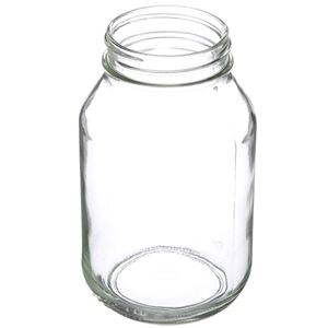 32 oz Clear Glass Round Mayo Jar - 70-450 Neck Finish - Angled View