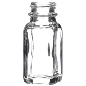 1 oz Clear Glass French Square Jar - 24-400 Neck Finish - Front View