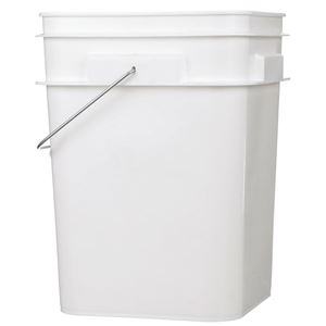 4 Gallon White HDPE Plastic Square Pail - Metal Swing Handle  - Front View