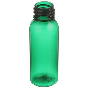 1 oz Green PET Plastic Bullet Round Bottle - 20-410 Neck Finish - Angled View