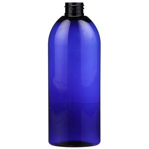 16 oz Cobalt Blue PET Plastic Oval Bottle - 28-410 Neck Finish - Front View