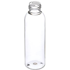 4 oz Clear PET Plastic Bullet Round Bottle - 24-410 Neck Finish - Angled View