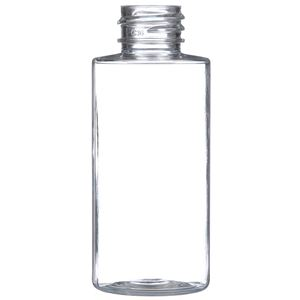 2 oz Clear PET Plastic Cylinder Round Bottle - 20-410 Neck Finish - Front View