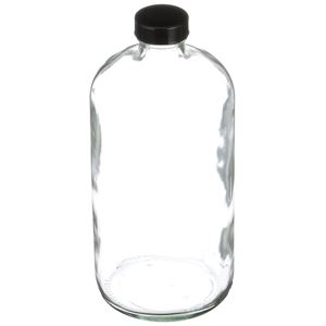 32 oz Clear Glass Boston Round Bottle with Black Closure - 33-400 Neck Finish - Angled View