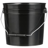 1 Gallon Black HDPE Plastic Round Pail  with Metal Swing Handle - Front View