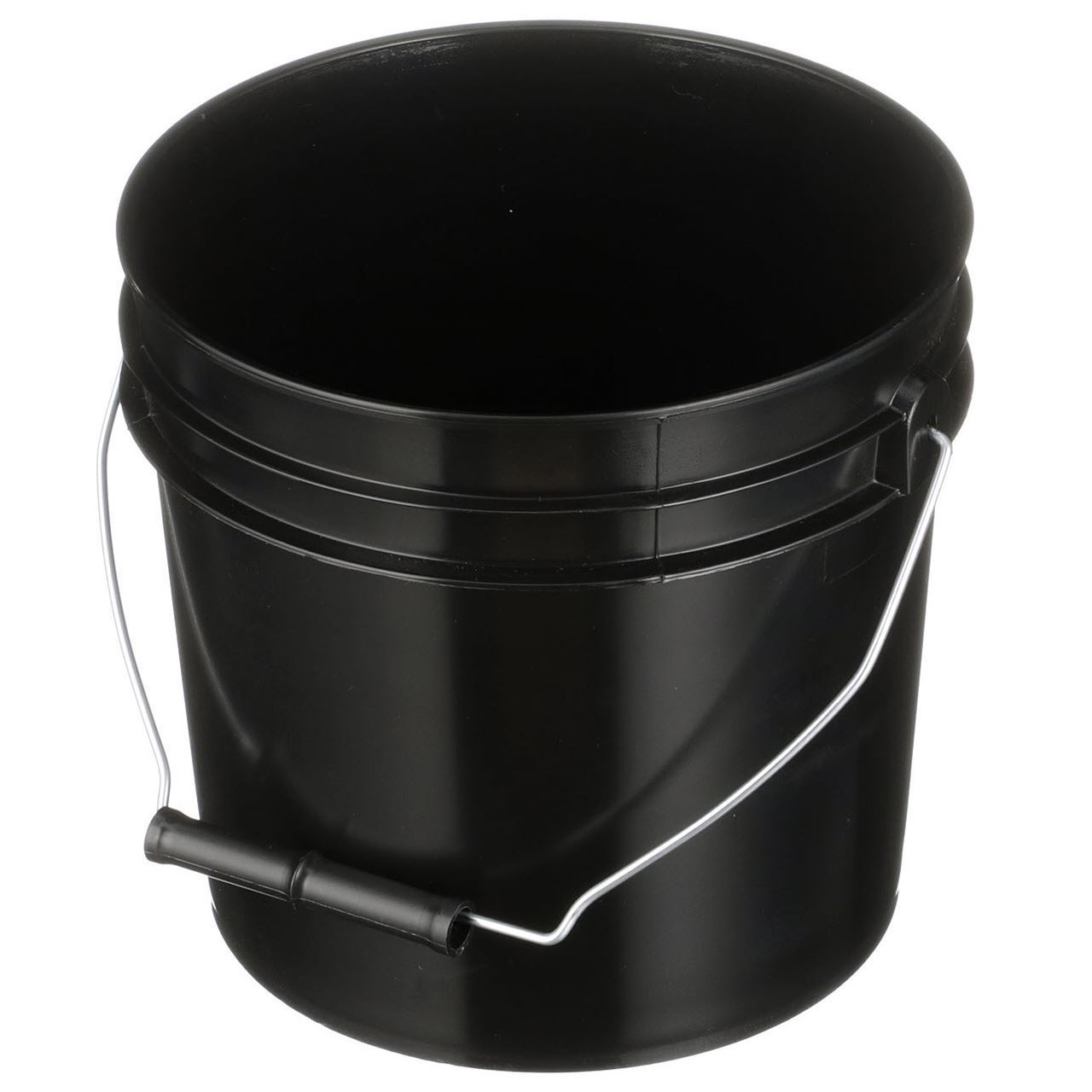 1 Gallon Black Hdpe Plastic Round Pail With Metal Swing