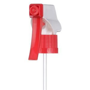 28-400 Red/White Trigger Sprayer with 8.84375 Inch Dip Tube - Angled View
