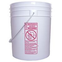 4 Gallon White HDPE Plastic Round Pail with Metal Swing Handle - Side View