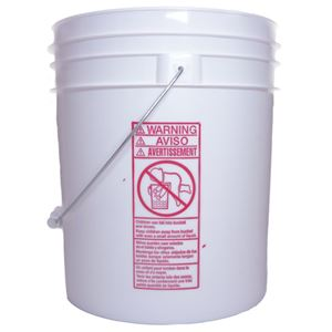 4 Gallon White HDPE Plastic Round Pail -  with Metal Swing Handle - Side View
