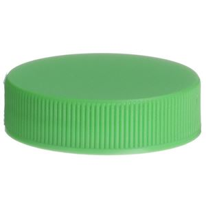 38-400 Continuous Thread Lined Green P/P Plastic Closure - HS035/Foam Liner - Front View