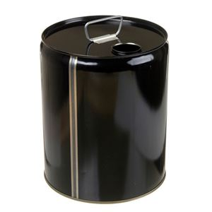 5 Gallon Black Steel Round UN Rated 24 Gauge Tight Head Pail with 70 mm Closure Included - Angled View