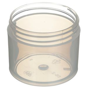 2 oz Natural P/P Plastic Straight Sided  Round Jar - 53-400 Neck Finish - Angled View
