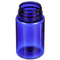 100 cc Cobalt Blue PET Plastic Round Packer Bottle - 38-400 Neck Finish - Angled View