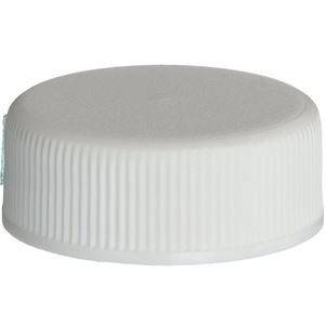 28-400 Continuous Thread Lined White P/P Plastic Closure - PE Foam Liner - Front View