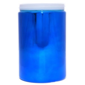 25 oz Blue Metalized HDPE Plastic Round Jar - 89-400 Neck Finish - Front View