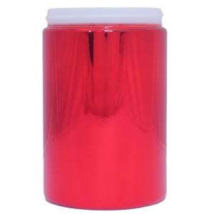 25 oz Red Metalized HDPE Plastic Round Jar - 89-400 Neck Finish - Front View