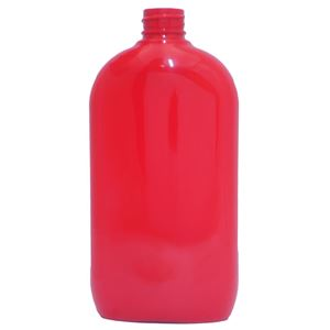 16 oz Red PET Plastic Oval Straight Sided Bottle - 28-410 Neck Finish - Front View