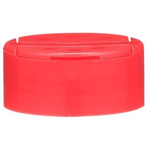 53-485 Dual Dispensing Flip Top Red P/P Plastic Unlined Closure - 3 Holes 0.288/Orifices 7 Holes 0.133/Orifices - Front View