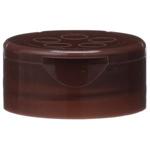 43-485 Flip Top Dispensing Brown P/P Plastic Lined Closure - 5 Holes 0.200/Pour Orifices - SFF Printed Liner - Front View