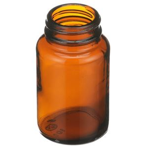 100 cc Amber Glass Round Packer Bottle - 33-400 Neck Finish - Angled View
