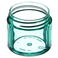 1 oz Translucent Light Green P/S Plastic Round Thick Wall Jar - 43-400 Neck Finish - Angled View